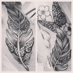 Fineline Feder-Schmetterling Tattoo